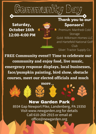 Community Day- October 16th 12:00-4:00 pm